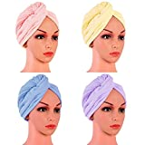 4 Pack Microfiber Hair Drying Towels, Fast Drying Hair Cap, Long Hair Wrap,Absorbent Twist Turban(Pink, yellow, blue, purple)