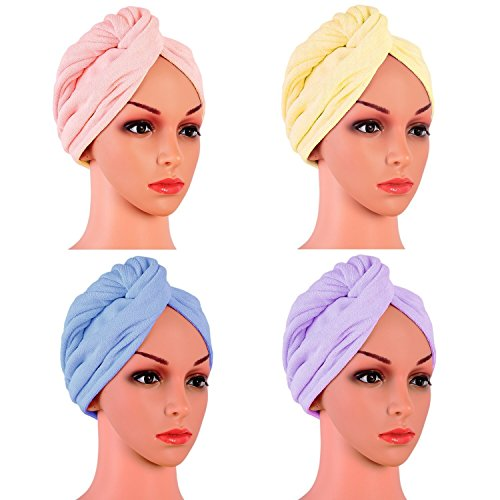 4 Pack Microfiber Hair Drying Towels, Fast Drying Hair Cap, Long Hair Wrap,Absorbent Twist Turban(Pink, yellow, blue, - Twist Wrap Hair
