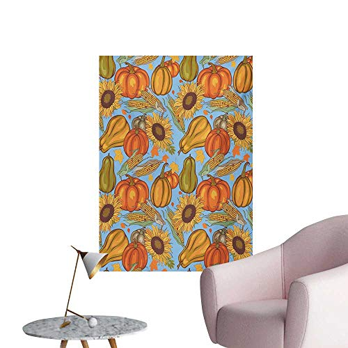 - Anzhutwelve Harvest Photographic Wallpaper Agriculture Theme Vegetable Pattern Corns Pumpkins and SunflowersOrange Yellow Pale Blue W32 xL48 Space Poster