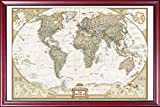 Framed Vintage World Map by National Geographic (Map of the World) Mahogany Wood Frame (Push Pins) Picture