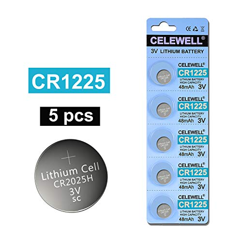 CELEWELL 5-Pack CR1225 3V Lithium Battery for Thermometer Watch CR 1225