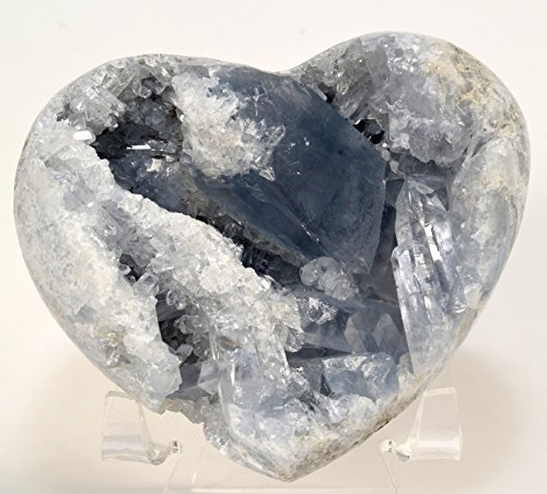 3.8'' 1.2lb Celestite Geode Heart Sparkling Natural Ice Sky Blue Druzy Crystal Cluster Mineral Celestine Stone - Madagascar + Acrylic Display Stand by HQRP-Crystal