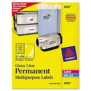 Avery Glossy Clear Permanent Multipurpose Labels, 2 x 2.625 Inches, Pack of 375 (6581)