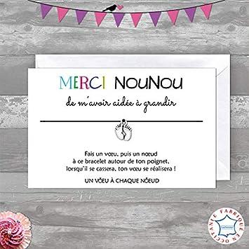 Idée Cadeau Pour Nounou Creche.Carte De Voeux Merci Nounou Offert Par Une Fille Bracelet