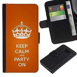 Samsung Galaxy S6 / SM-G920 Modelo colorido cuero carpeta tirón caso cubierta piel Holster Funda protección - Keep Calm King Orange Crown Text White