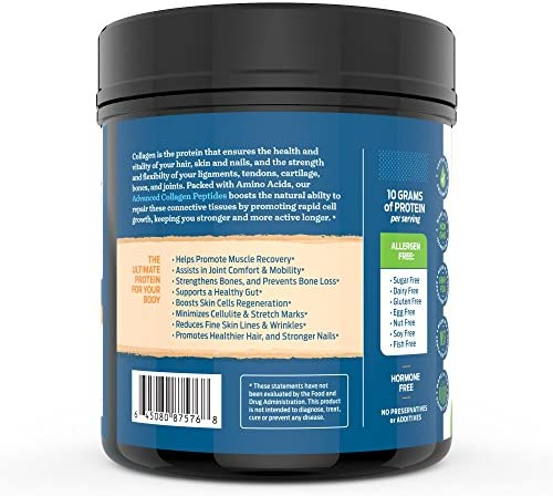 Advanced Hydrolyzed Collagen Peptides - Unflavored Protein Powder - Mixes Into Drinks and Food - Pasture Raised, Grass Fed - for Paleo and Keto; Joints and Bones - 41 Servings Collegen 8