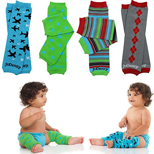 JuDanzy 4-pack Organic baby & toddler leg warmers gift set for boys & girls (One Size (12 pounds to 10 years), Organic Witty 4-Pack Leg Warmers)