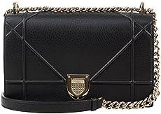 e9fc5ccfdca1 Christian Dior Diorama Black Pebbled Leather W Attachable Chain Shoulder Ba
