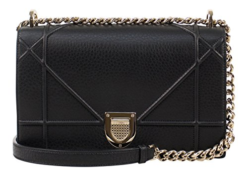 Christian Dior Diorama Black Pebbled Leather W/Attachable Chain Shoulder (Dior Women Handbags)