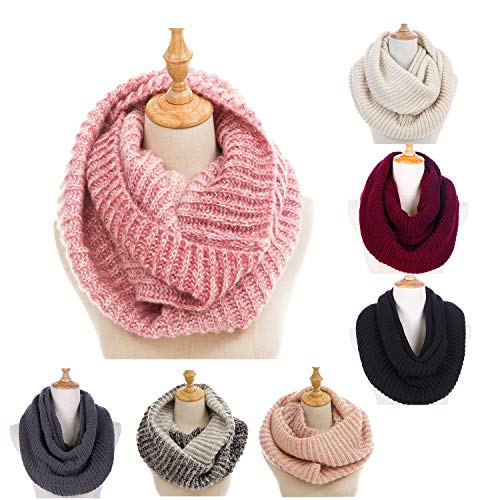 (Women's Winter Warm Thick Chunky Rib Knit Infinity Loop Scarf Beauty Gift)