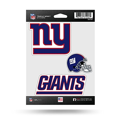 Rico Industries NFL New York Giants Die Cut 3-Piece Triple Spirit Sticker Sheet