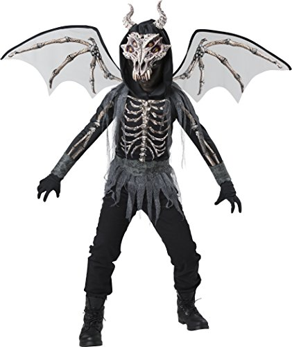 Scary Raven Halloween Costumes - InCharacter Dragon Skeleton Costume, Black/Gray,