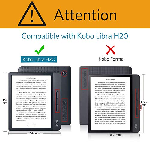CoBak Kobo Libra Case with Stand - Libra H2O Origami Protective PU Leather Smart Cover with Auto Sleep Wake Feature for New Kobo Libra H2O 2019 Released,Floral