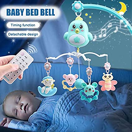 Harwls Appease Bed Bell Music Rotating Teether Projection Remote Control Bed Pendant Bell for Baby
