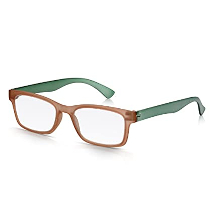 Read Optics Gafas Retro Wayfarer Clear Lens +2.00: Elegante Matt Crystal Marrón y Verde Full Frame en Policarbonato extra liviano e inastillable con ...