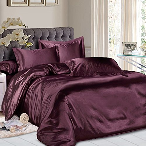 Roch Linen Hotel Quality Silky Soft Luxurious Satin 7 Pc Sheet Set Wrinkle & Fade Resistant, Hypoallergenic Breathable Durable Comfort Bedding Set With Duvet Set !!!Full, Wine from Roch Linen