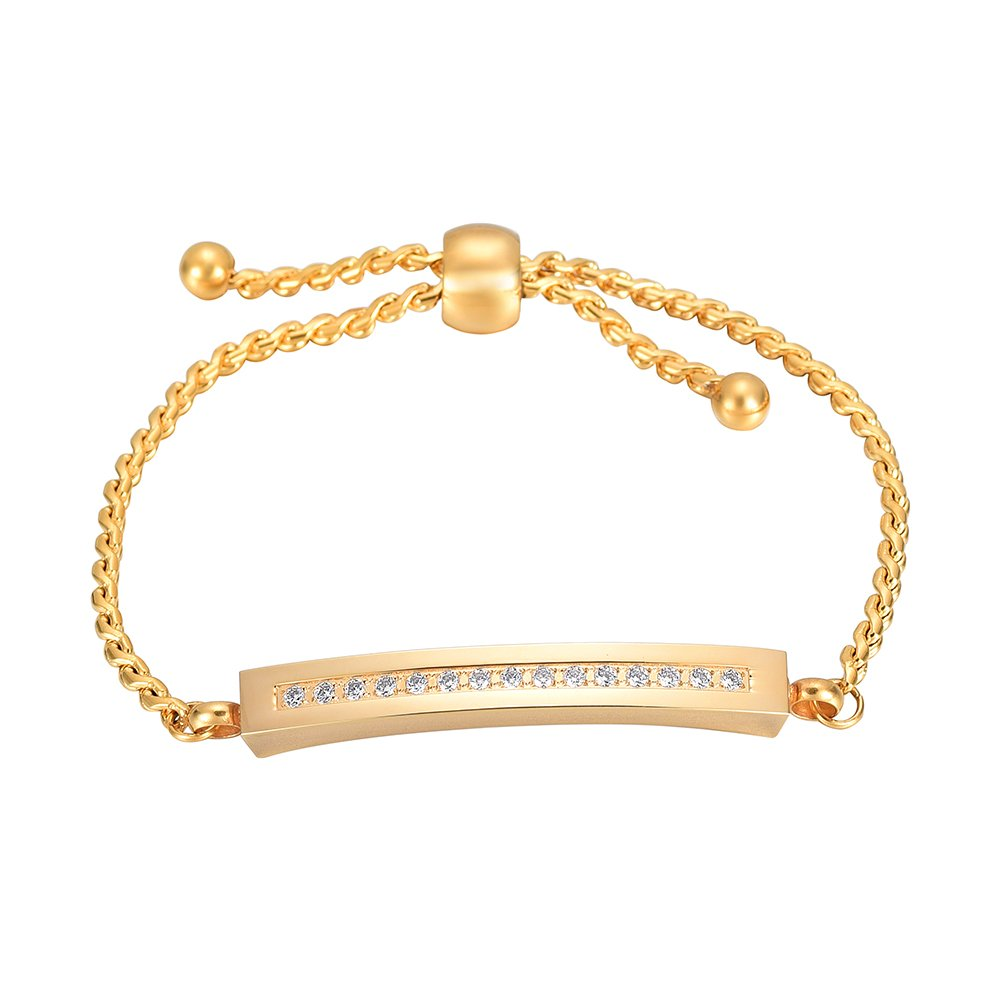Cremation Urn Cuff Bracelet For Ashes Memorial Jewelry Gold Bar Bridesmaid Wedding Graduation Gift XSMjewelry INC 6998-G-EM