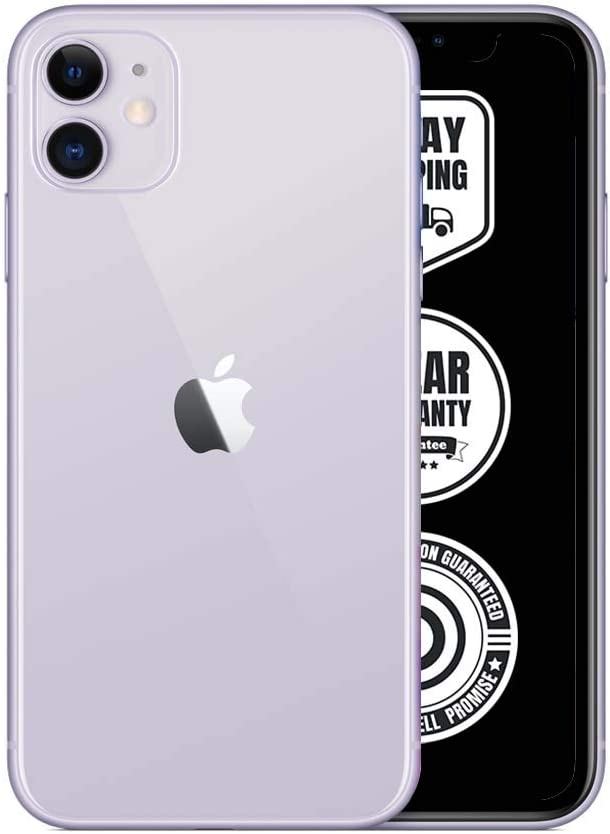 Apple iPhone 11, 128GB, Purple - Fully Unlocked (Renewed)