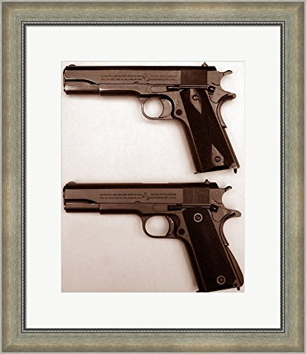 M1911 and M1911A1 Pistols Framed Art Print Wall Picture, Silver Scoop Frame with Hanging Cleat, 21 x 24 inches