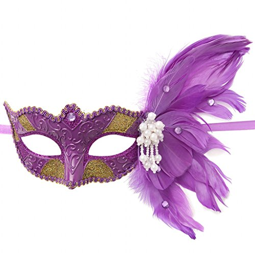 Clearbridal Women's Venetian Purple Masquerade Mask With Feathers CMJ026PL