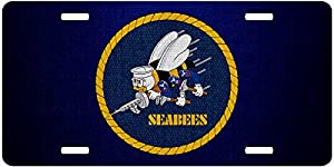 ExpressItBest Premium Aluminum License Plate - U.S. Naval Construction Force (CBS, Seabees), Emblem by ExpressItBest