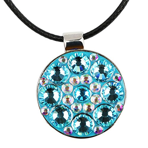 PINMEI Beautiful Crystal Golf Ball Marker with Magnetic Leather Necklace (Blue)