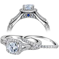 Newshe Vintage Wedding Engagement Ring Set for Women 925 Sterling Silver 1.4ct White AAA Cz Size5-10