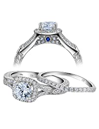 Newshe Women Vintage White Cubic Zirconia 925 Sterling Silver Wedding Engagement Ring Set Size 5-10