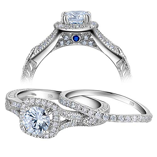 (Newshe Vintage Wedding Engagement Ring Set for Women 925 Sterling Silver 1.4ct White AAA Cz Size 8)