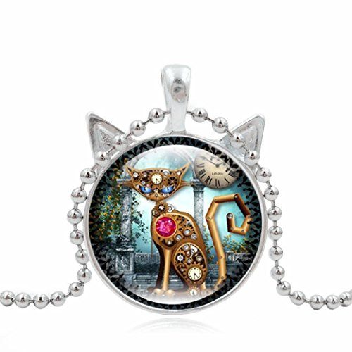Cute Mechanical Cat Pendant Art Picture Statement Chain Necklace Silver by TOPUNDER