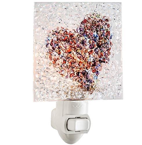 J Devlin NTL 187 Fused Glass Heart Night Light Decorative Wall Light Bedroom Bathroom Nursery Girl's Room