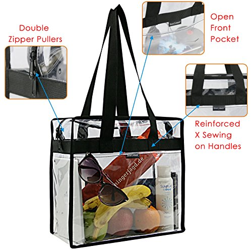 Clear Stadium Bags w Front Pocket and Shoulder Carry Handles, NCAA NFL & PGA Security Approved Travel & Gym Vinyl Zippered Tote Bag, Sturdy Waterproof Transparent Diaper Bag for Women - 12
