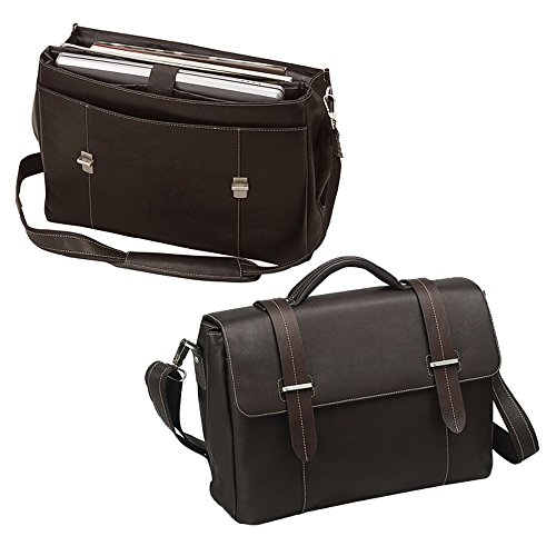 Executive Leather Flap-over Laptop Computer Bag- Brown