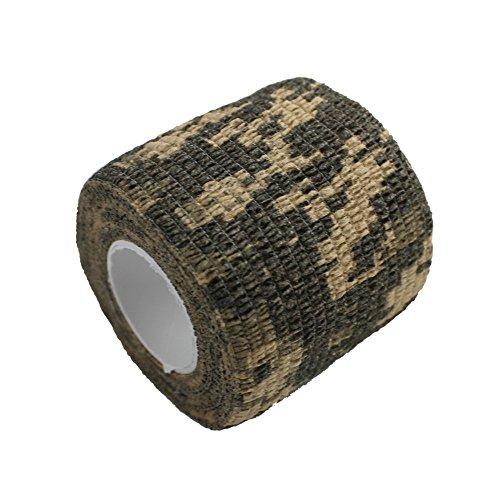 MeanHoo 2 Rolls Self-adhesive Non-woven Outdoor Camouflage Wrap Rifle Hunting Cycling Tape Waterproof Camo Stealth Tape Non-woven Outdoor Camouflage Wrap...