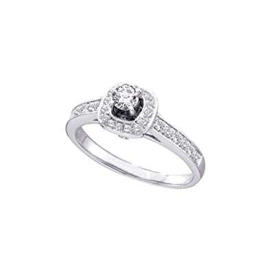 36ed0a39a5e14b Sonia Jewels Size 7-14k White Gold Ladies Womens Diamond 0.20Ct Center  Round Bridal