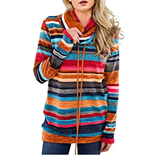 Womens Long Sleeve Cowl Neck Striped Loose Lightweight Tunic Sweatshirt Casual Drawstring Pullover Tops Shirts with Pockets Orange L 12 14