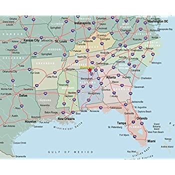 Home Comforts Map - Interactive Map of Southeast United States Freedomday  Info in The Simple Us Vivid Imagery Laminated Poster Print 24 x 36