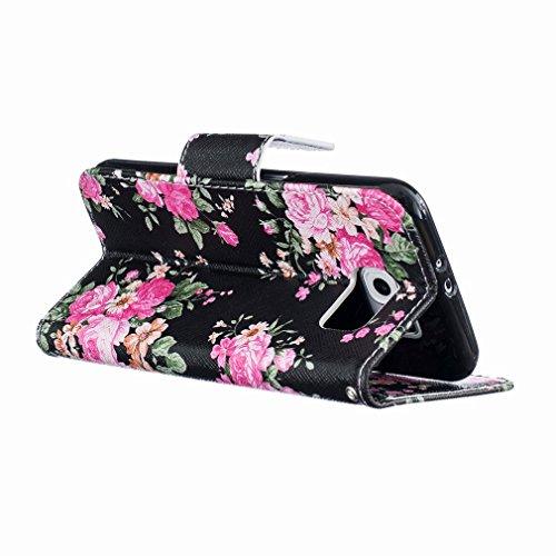 Yiizy Samsung Galaxy S6 G9200 G9208 Funda, Bright Rose Diseño Solapa Flip Billetera Carcasa Tapa Estuches Premium PU Cuero Cover Cáscara Bumper Protector Slim Piel Shell Case Stand Ranura para Tarjeta