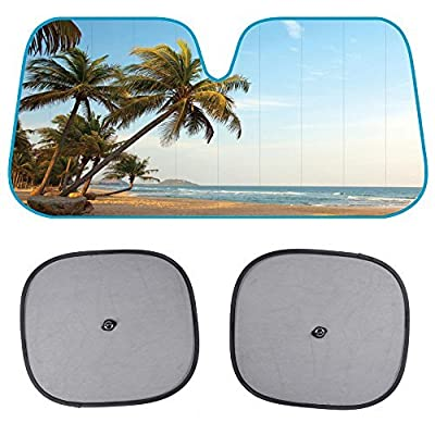 BDK AS-601+SS-001_AMZHD AS601 Palm Tree Windshield Sun Shade for Car SUV Truck with Side Window Sunshades, 58 x 28, Standard, Beach: Automotive