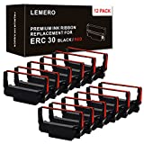 Lemero ERC-30 ERC 30 34 38 B/R Compatible Ribbon Cartridge for use in ERC38 NK506 (12-Pack, Black Red)