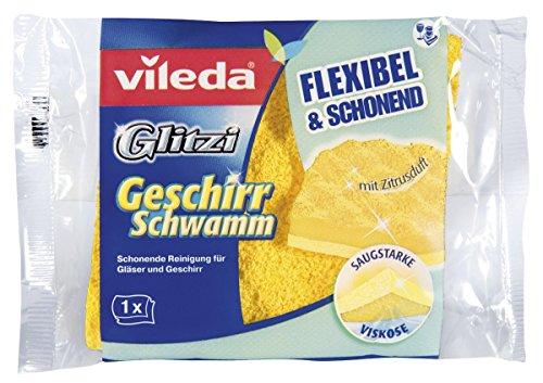 Vileda Glitzi Geschirrschwamm - Schonende Reinigung von Gläsern und Geschirr, 1er Pack