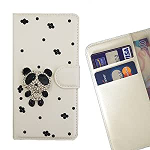 FOR Samsung GALAXY A8 / A8000 Panada Bling Bling PU Leather Waller Holder Rhinestone - - OBBA