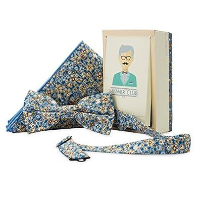 Miswak Club 100% Cotton Bow Tie & Pocket Square Set for Men, Blue Print