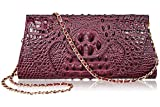 PIJUSHI Fashion Embossed Crocodile Leather Tote Clutch with Long Shoulder Strap 65106 (Purple)