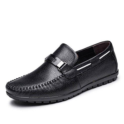 Frühlings-Männer Echtes Leder Business Casual Schuhe Herrenschuhe Driving Shoes Black