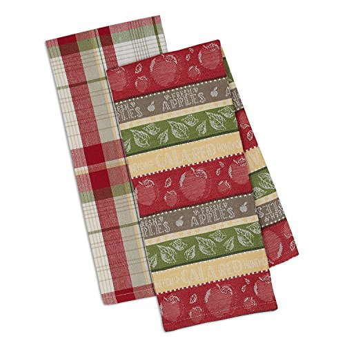DII Design Imports Fresh Apples Kitchen Dish Towels Set of 2 ~ Apple Stripe Jacquard ~ Orchard Plaid (Orchard Plaid)