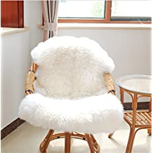 New Soft Hairy Artificial Carpet Sheepskin Chair Cover Seat Pad Plain Skin Fur Plain Fluffy Area Rugs Washable Bedroom Faux Mat (White)