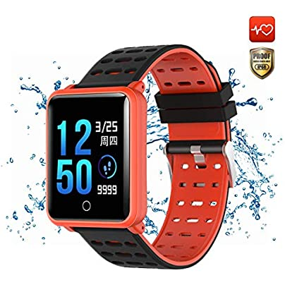 LICIDI Smart watch IP68 Waterproof touch Screen Wristband Fitness Tracker Bracelet with Heart rate Monitor Sleep Monitoring Pedometer Calorie for iOS Android Red Estimated Price -