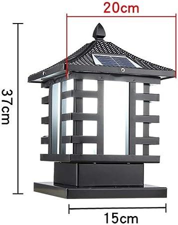 WHYA Exterior Tradicional Impermeable Aluminio Solar LED Poste de luz Vintage Porche Externo Columna Faro farola lámpara jardín Europeo Villa Paisaje Pared Pilar Linterna: Amazon.es: Hogar