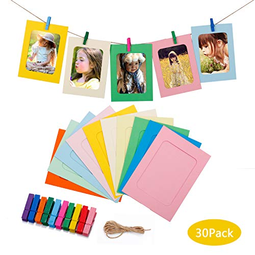 BELLARMOR Paper Photo Frames 30pcs DIY Craft Cardboard Frames with 30 Clips and 3 Ropes for 4.5x6inch Pictures (10 -